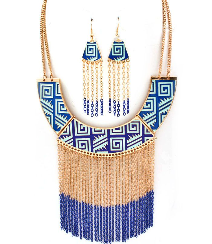 Unique Blue Tassel Necklace   Striking gold necklace with bonus earrings. 3 1/2 inch tassel, 17 inches long.  Perfect addition to any Paper Scissors Frock maxi dress