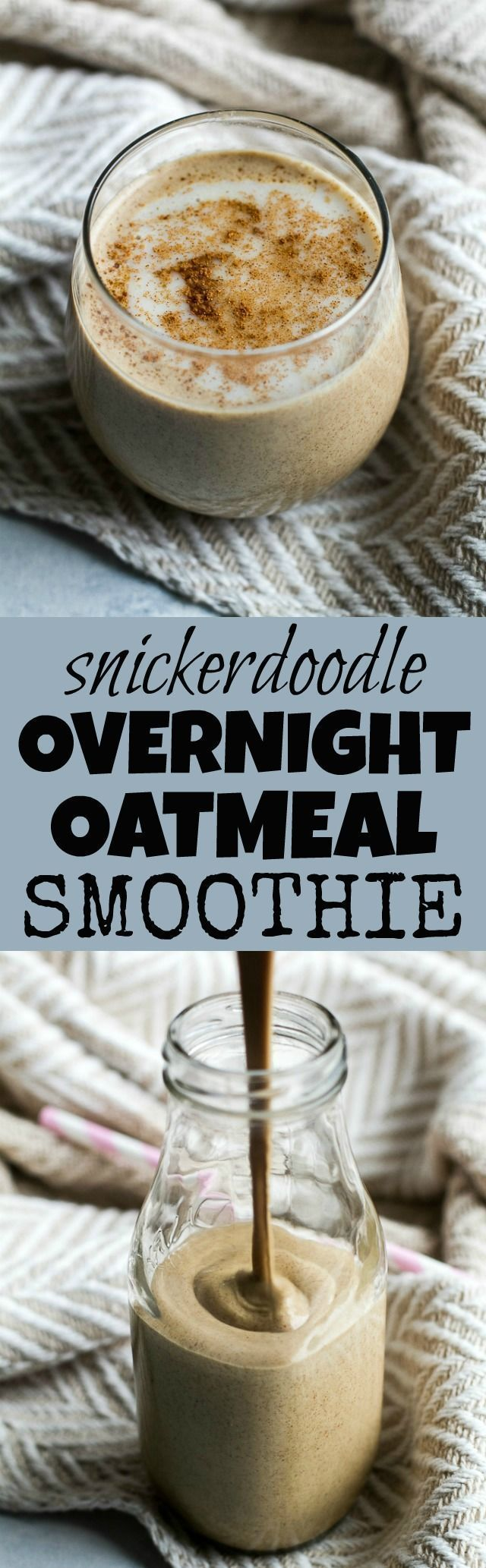 Take overnight oats to a whole new level of deliciousness with this thick and creamy Snickerdoodle Overnight Oatmeal Smoothie. It's creamy, comforting, and packed with healthy ingredients for a perfect breakfast or snack {vegan, gluten-free} | runningwith