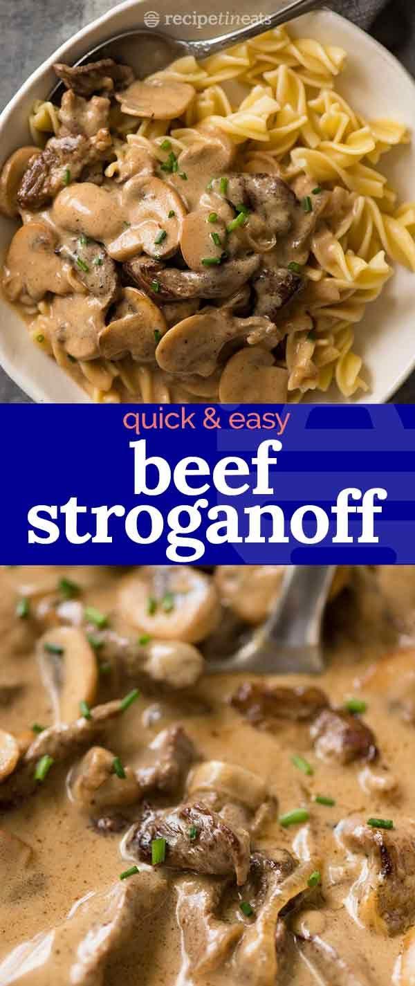 Un facile Stroganoff di manzo da 30 minuti – Strisce di manzo succose scottate dorate soffocate in …