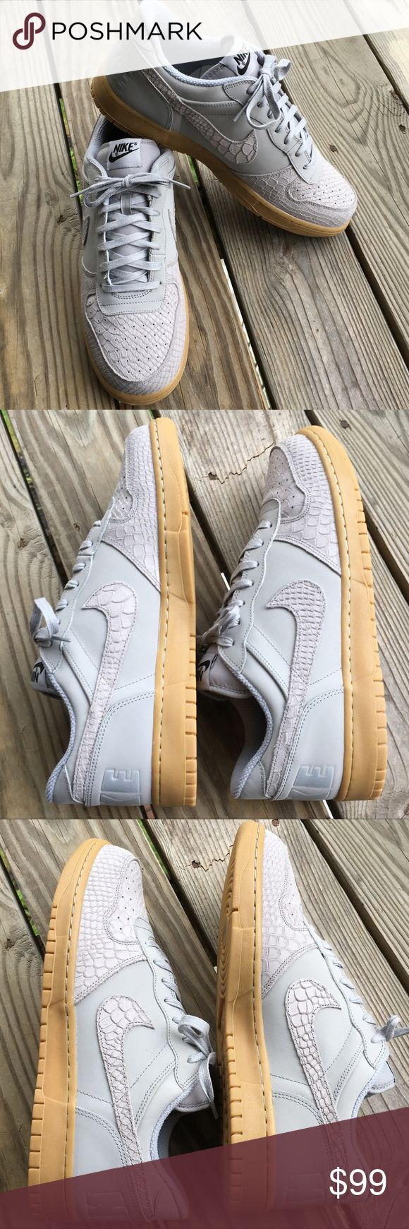 🆕Men's Nike Grey Reptile Air Force 1 Lo NWOB Brand new without box! Nike Reptile Air Force One Lows with Bubblegum sole. Wolf Pack Grey Reptile. Size 12. Also available in Size 11.5. Suede and leather upper. Super hot! Very small and unnoticeable mark as shown in third to last picture. Purchased this way. ❌NO TRADES❌NO LOWBALLING❌NO MODELING❌ Nike Shoes Sneakers