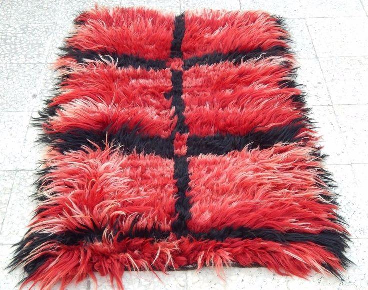 Long Piled Knotted Red Filikli Rug,Shaggy Angora Wool Turkish Tulu Rug 2.9x4.3ft #ShagFlokati