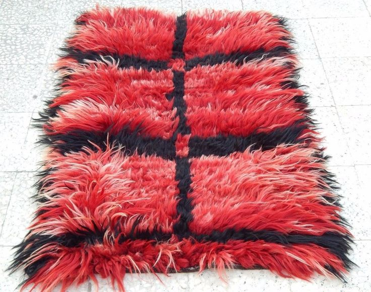 Long Piled Knotted Red Filikli Rug,Shaggy Angora Wool Turkish Tulu Rug 2.9x4.3ft #ShagFlokati