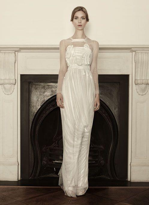 "Sophia Kokosalaki -  ""Euphrosyne"" ruched organza sheath wedding dress with an illusion high neckline and long sleeves"