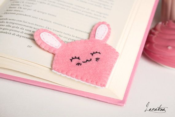 """Handmade felt rabbit bookmark   To everyone who still loves reading paper books.    • Felt: white, pink • Size 3,1"""" • No glue is used • Each creation is 100% handmade • Ite... #etsy#kawaii #bookmark #accessories"""