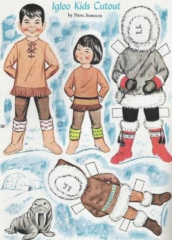 Vintage Igloo Kids Dress Up Paper Dolls - by Vintage Mouse.  Can use this with inuksuk learning!