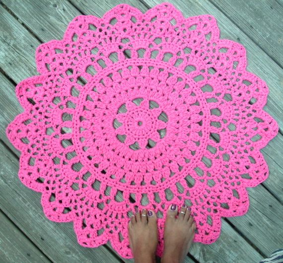 "Fuschia Hot Pink Cotton Crochet Doily Rug in 30"" Circle Lacy Pattern Non Skid. $55.00, via Etsy."