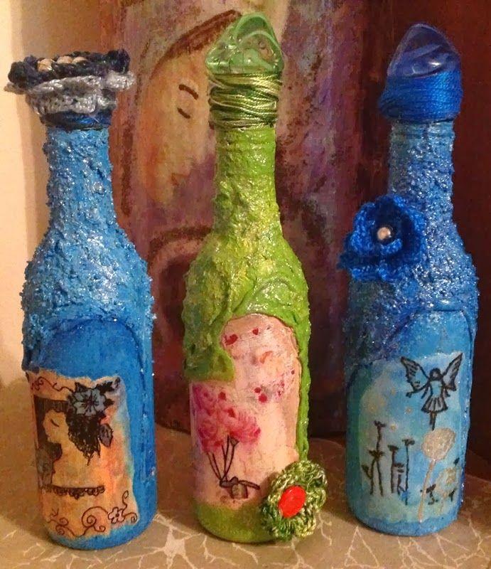 bottles...decoupage... with crochet flowers