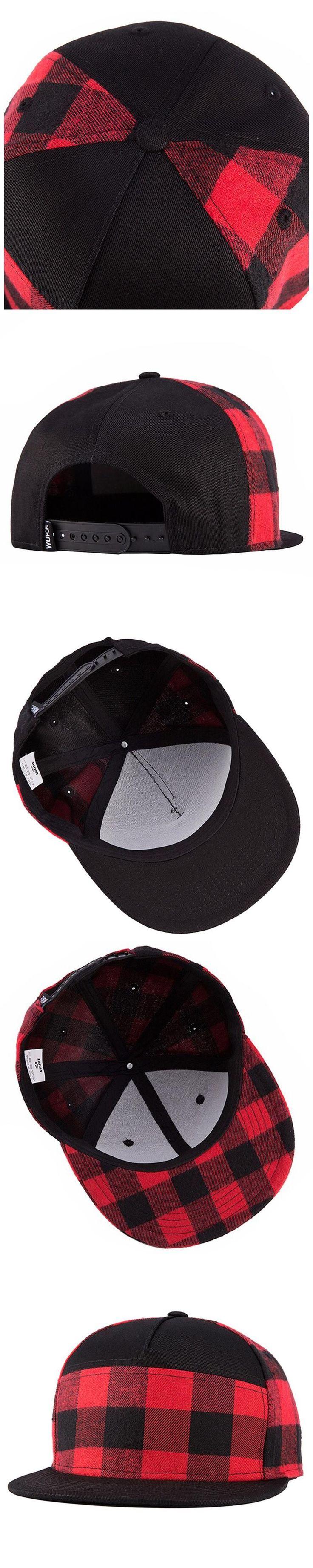 IMC WuKe Plaid Snapback Hip Hop Cap Baseball Skateboard Hip Hop Cap Men Women Basketball Snapback Hiphop Size 55-60cm Black +