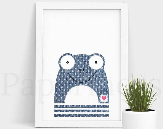 Frog Print, Baby Animal, Denim With Flowers, Large Printable Poster, Digital Download, Nursery Art, Nursery Wall Art, Baby Room Art