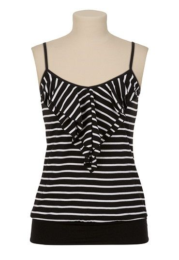 Striped Ruffle Front Tank available at #Maurices
