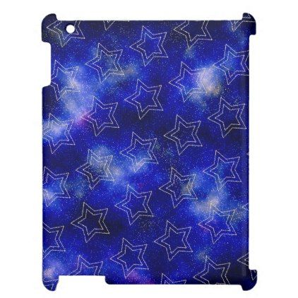 Double stars on the blue cosmic background iPad covers - blue gifts style giftidea diy cyo