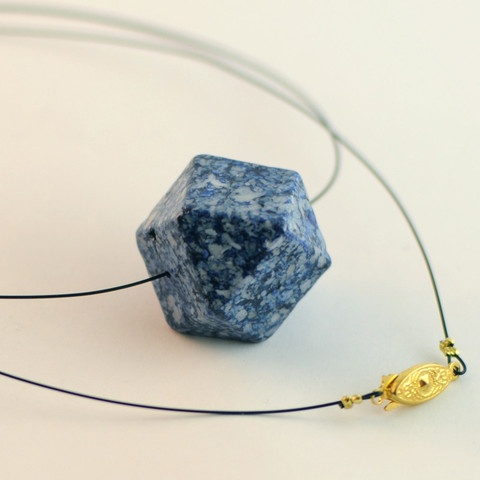 Geometry Rocks! in blue. Riverstone fossil bead exclusive to World Hippie Originals.
