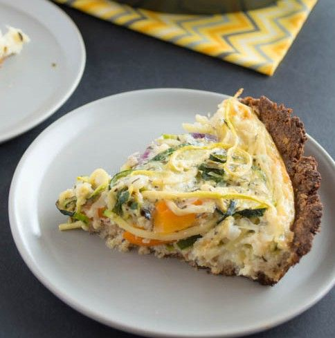 Gluten Free Zucchini Quiche by heatlhynibblesandbits: This gluten-free quiche is made with a nutty almond meal crust and is filled colorful strips of zucchini noodles and orange bell pepper and …261 calories/serving #Breakfast_for_Dinner #Quiche #GF