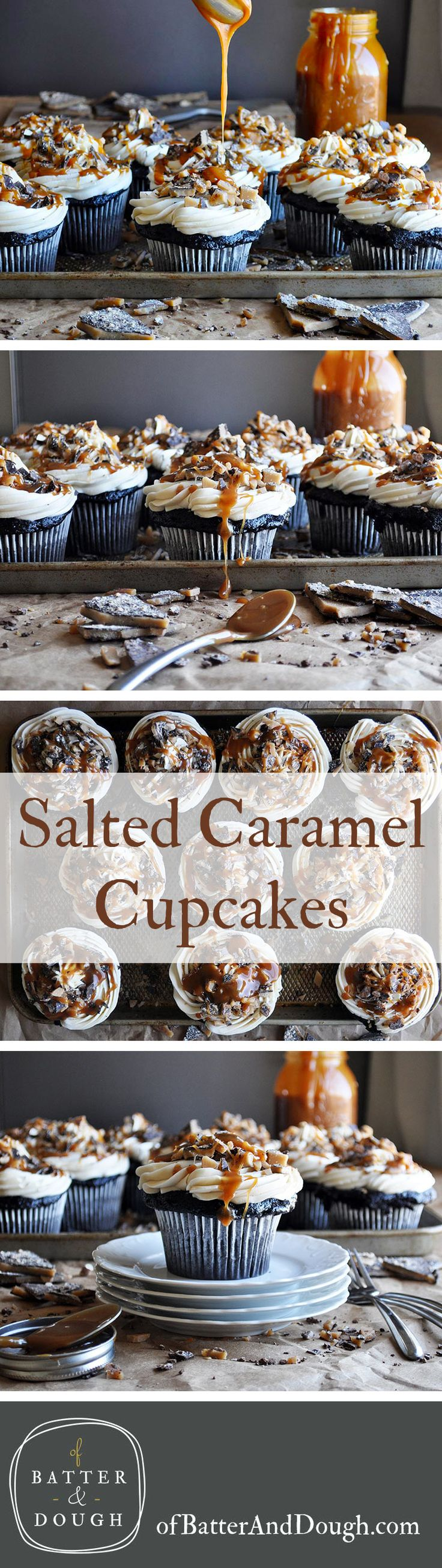 Salted Caramel Cupcakes. Rich, ultra moist chocolate cake is frosted with salted caramel Italian meringue buttercream, sprinkled with chocolate covered almond toffee and drizzled with salted caramel sauce.