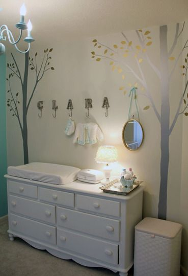 like the little lamp next to changing pad + wall decals