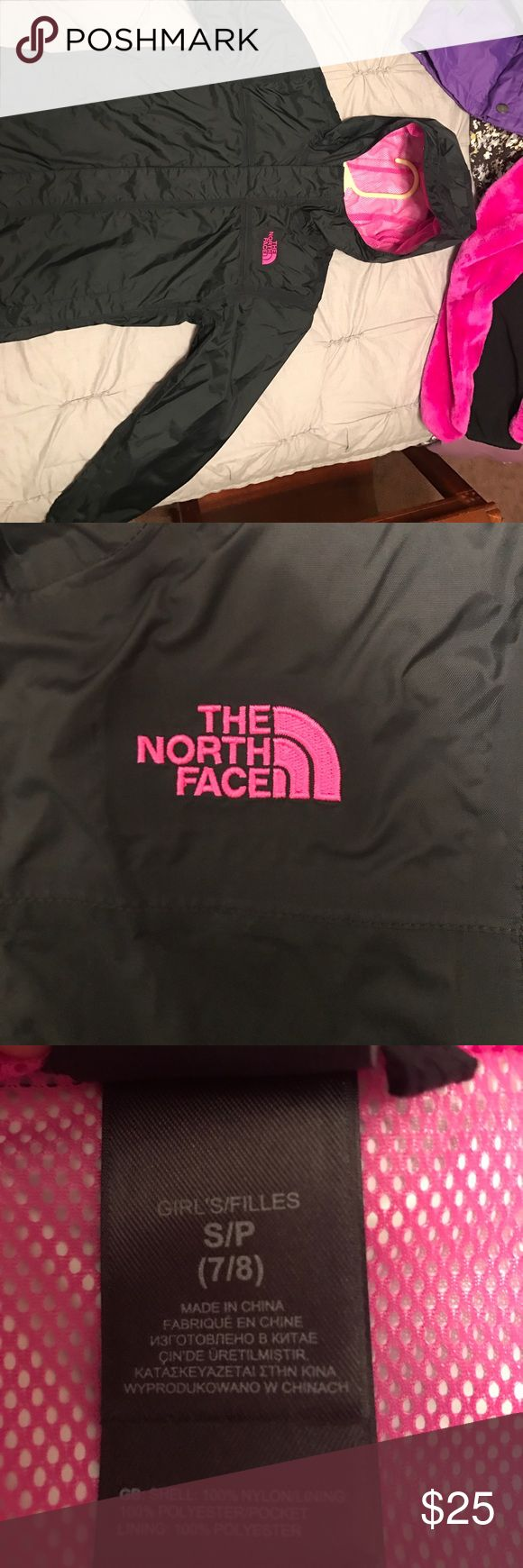 Girls size small north face rain jacket Black and pink girls north face jacket size small (8/9) North Face Jackets & Coats