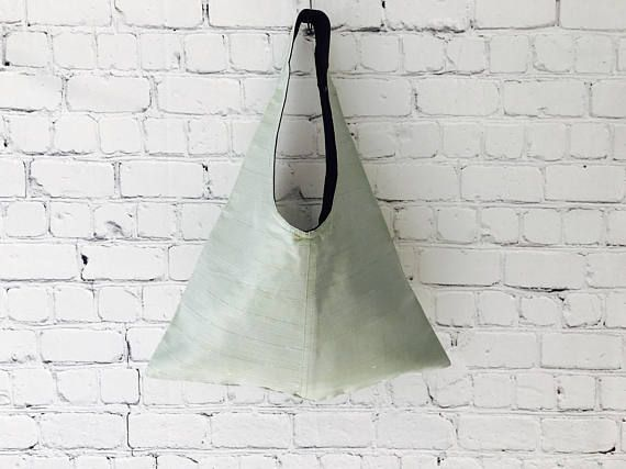 Green Silk Tote Bag, Over The Shoulder Bag, Boho Tote , Gift For Her, Casual Handbag, Womens Shoulder Bag, Hobo Handbag, Everyday Bag