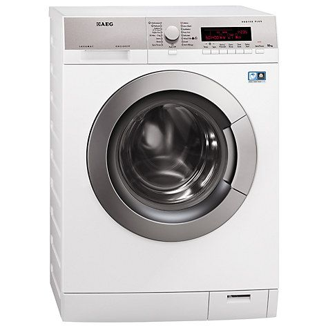Nothing fancy but a 10KG wash load would be an angel in our house!  Buy AEG L87405FL Freestanding Washing Machine, 10kg Load, A+++ Energy Rating, 1400rpm Spin, White Online at johnlewis.com