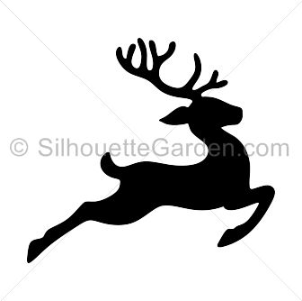 Flying reindeer silhouette clip art. Download free versions of the image in EPS, JPG, PDF, PNG, and SVG formats at http://silhouettegarden.com/download/flying-reindeer-silhouette/