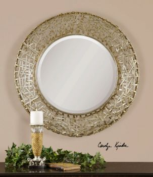 Just specified this Uttermost Alita Champagne Woven Metal Mirror, #11603 B, for the entry of one of our most recent Kerrie Kelly Design Lab clients. We will report back on the installation!