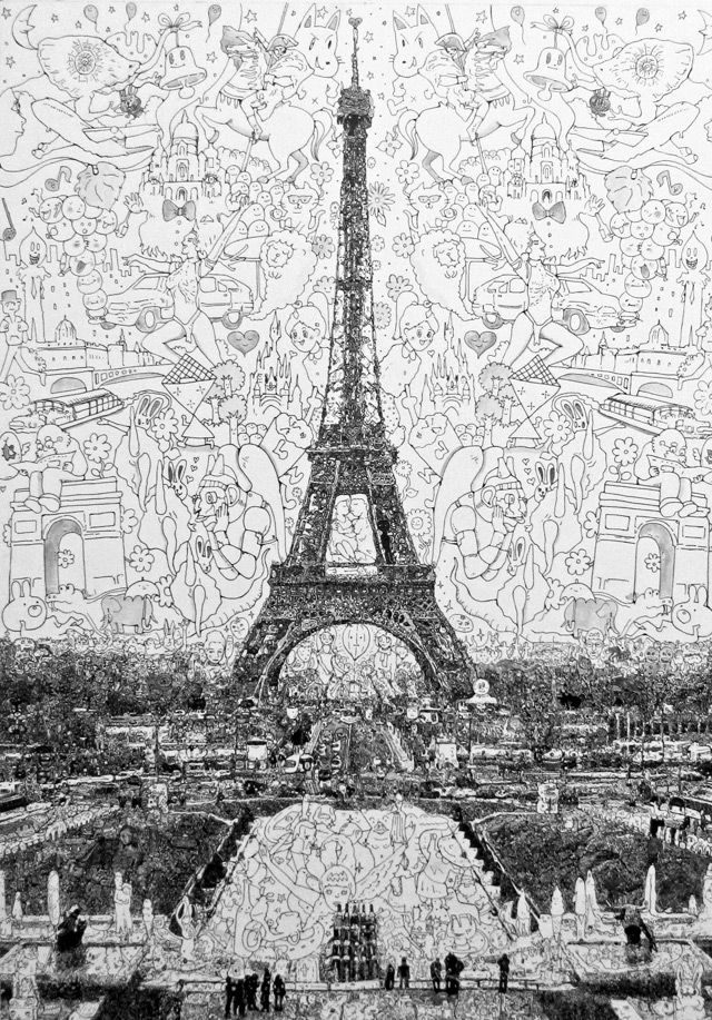 """This illustration by Sagaki Keita uses pen and ink """"doodle"""" drawings to illustrate different statues and monuments. To create weight and shading, he differentiates how dense the doodles are. The ones that make up the sky around the tower are drawn with a thinner line and are larger than the doodles used for other darker parts of the illustration."""