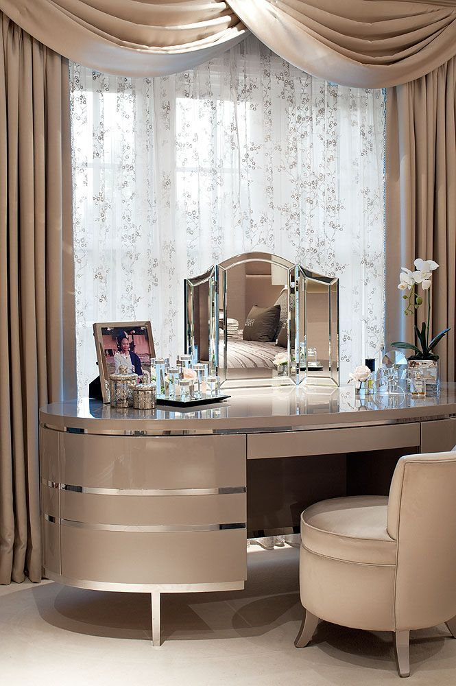 Golden Glamour Bedroom; glamorous dressing table & curtains