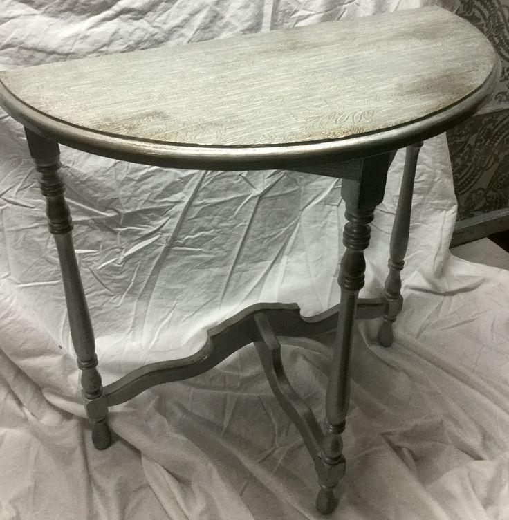distressed half moon side table