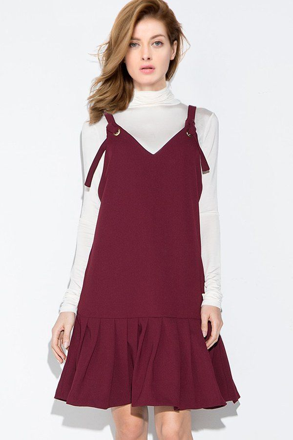 Sleeveless Wine Red A-Line Dress