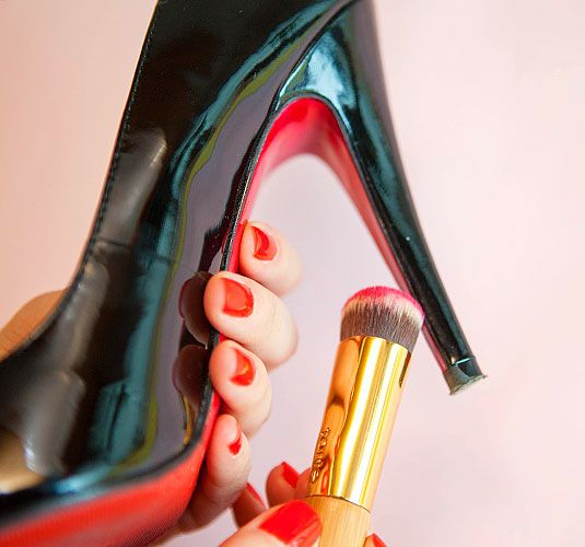 Use nail polish to add a pop of color to the sole of your shoe Unconventional Ways to Use Nail Polish - Nail Polish Quick Fixes - Cosmopolitan