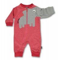 Dänische Babykleidung von Ubang babblechat - rot melierte Einteiler.