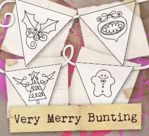 Christmas embroidery - Very Merry Bunting (Design Pack) design (UTPH1137) from UrbanThreads.com