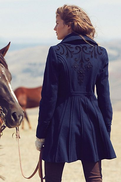 Blue embroidered coat