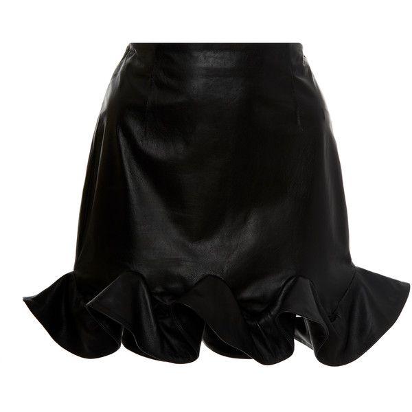 Zeynep Arçay Ruffles Mini Skirt (1 845 AUD) ❤ liked on Polyvore featuring skirts, mini skirts, black, ruffle skirts, frill skirt, flouncy skirt, ruffle hem skirt and short mini skirts