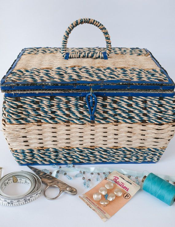 Large vintage blue 1950s/1960s woven wicker/cane by freshdarling