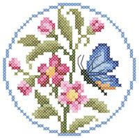 Butterfly Coaster  - free cross stitch pattern