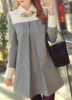 Grey and White Color Block Long Sleeve Wool Shift Dress