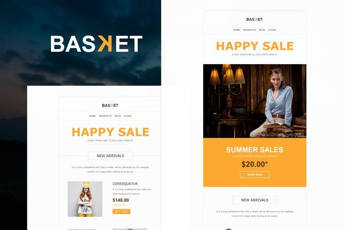 Basket - eCommerce Responsive E-mail Templates by williamdavidoff on Envato Elements
