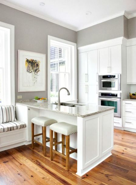 Small kitchen remodel with white cabinets and island