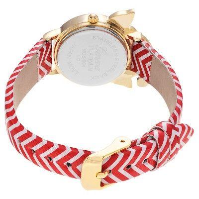 Women's Geneva Platinum Elf Face Leather Strap Watch - Red