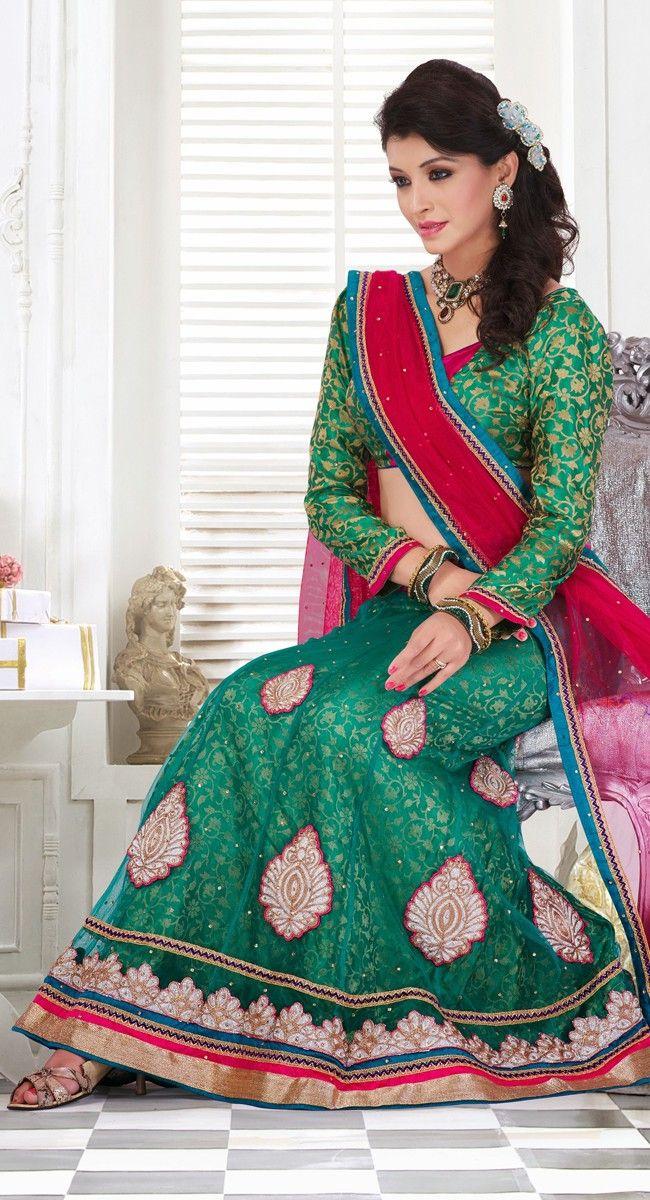 Dazzling Diva Greenish Blue Lehenga Choli