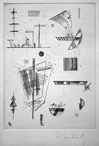 Wassily Kandinsky print: Erste Radierung fur die Editions Cahier d'Arte. Etching and drypoint.