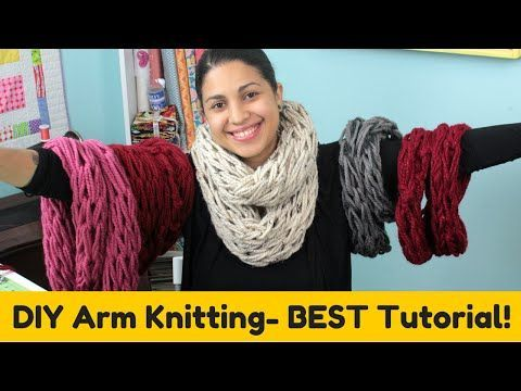 DIY Arm knitting- Infinity Scarf Cowl- BEST TUTORIAL! - YouTube