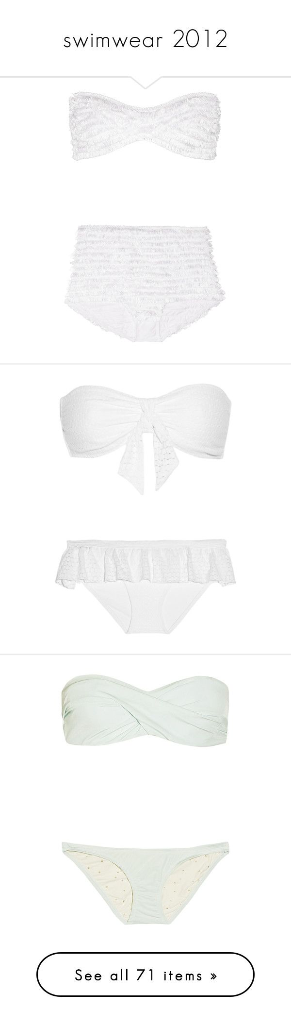 """swimwear 2012"" by dancer11forever ❤ liked on Polyvore featuring swimwear, bikinis, swimsuits, bathing suits, swim, white, bandeau bikini tops, white bikini, bandeau bikini and white bandeau bikini top"