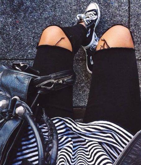 Black Cut Jeans