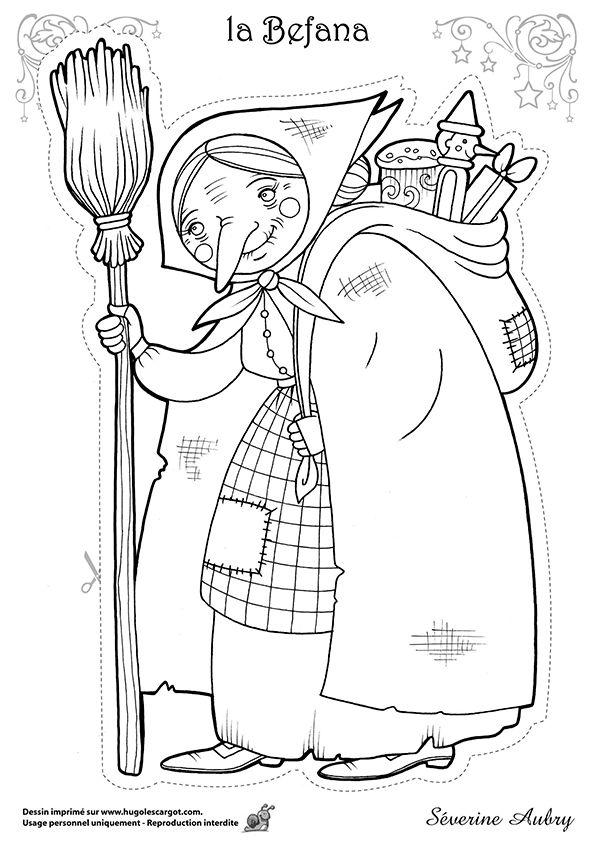 Dessin à colorier d'un des héros de Noël, la Befana, page 3 sur 15 sur HugoLescargot.com