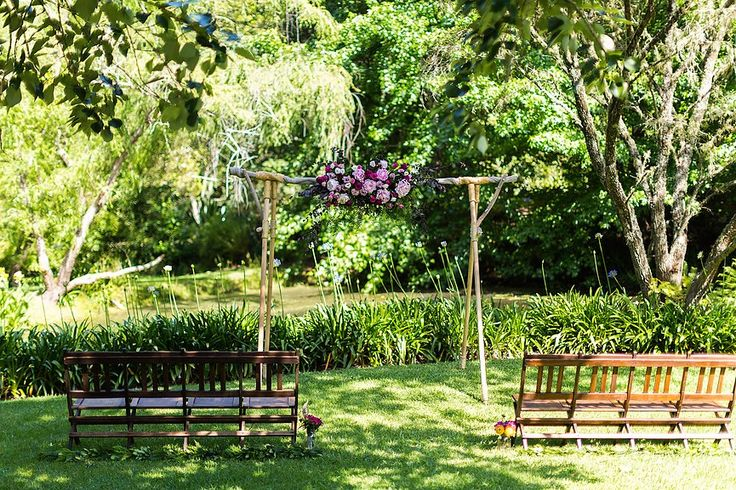 Romantic Pink Ceremony Arbor Arrangement // Wedding Arbor supplied and installed by Rustic Character Wedding Hire // Photography by Gez Xavier Mansfield Photography // Venue Firescreek Winery.