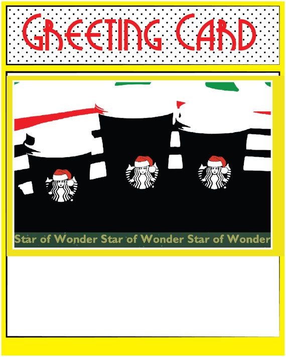 This Christmas card has an iconic coffee symbol all dresses up for the holidays…