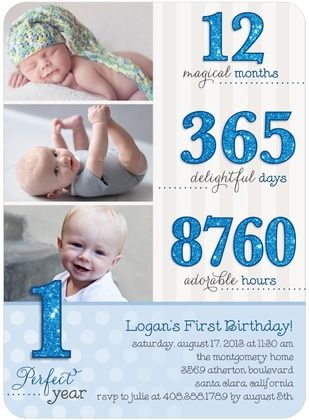 first birthday invitation with stats...cute-this is good inspiration for a scrapbook page!