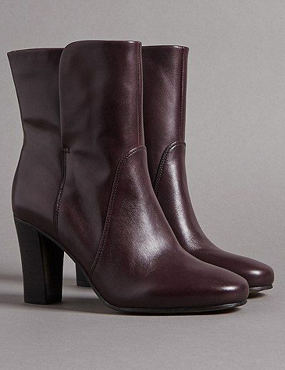 Leather Block Heel 👠 Ankle Boots 👢 | #ad Marks & Spencer London