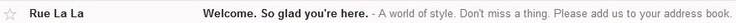 Ru La La Welcoming Email